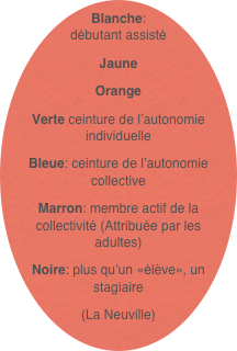 f5c83a90a7f1 Blanche  débutant assisté Jaune Orange Verte ceinture de l autonomie  individuelle Bleue  ceinture